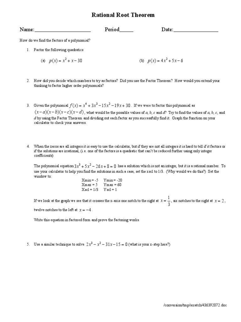 Rational Root Theorem Worksheet Learn These Rational Root Theorem Worksheet In 2020 Rational Root Theorem Theorems Factor Theorem