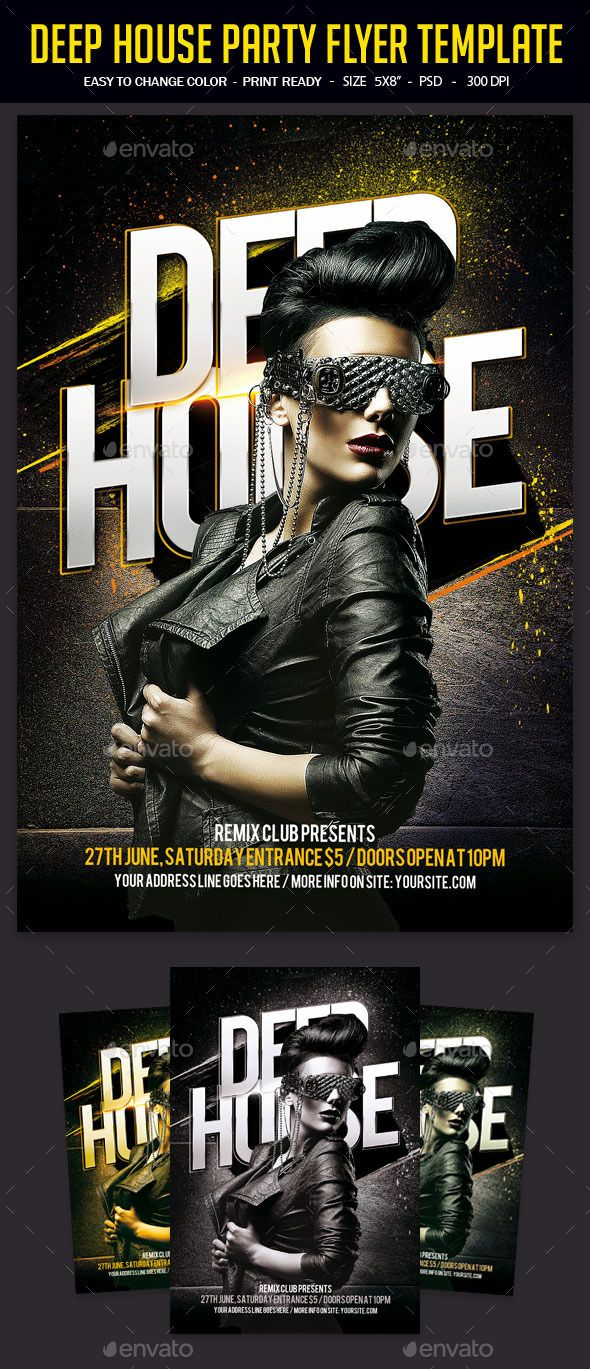 Deep House Party Flyer Template | Party flyer, Flyer template and ...