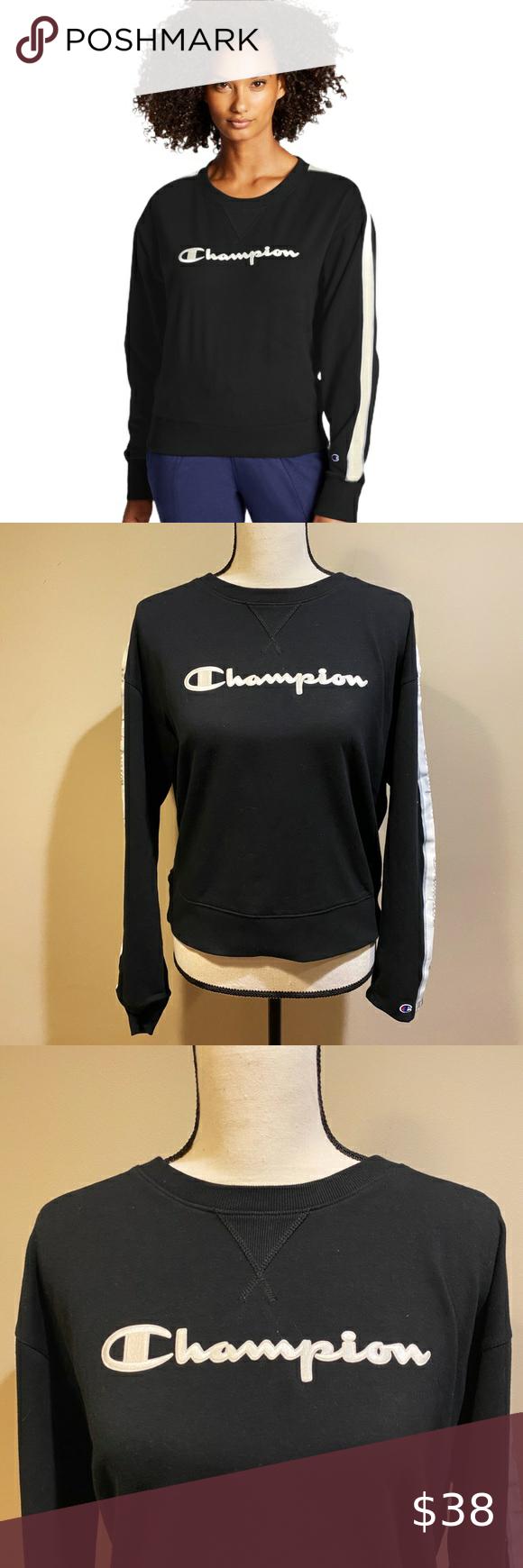 Champion Heritage Fleece Crewneck Sweatshirt Crew Neck Sweatshirt Sweatshirts Champion Tops [ 1740 x 580 Pixel ]