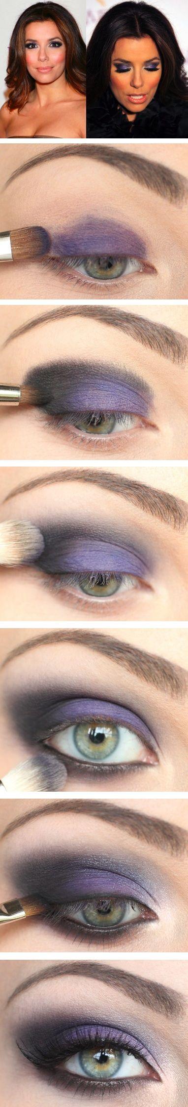 Eva longoria inspired look violets purples smokey makeup love