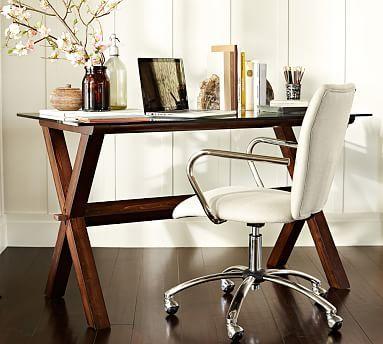 Ava Wood Desk Potterybarn 399 Glass Topped But Base