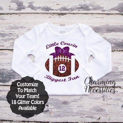 e65955b72 Little Cousin Biggest Fan LS - Football - Personalized Custom Colors Baby  Toddler Girl Fan Top, Little Cousin Shirt