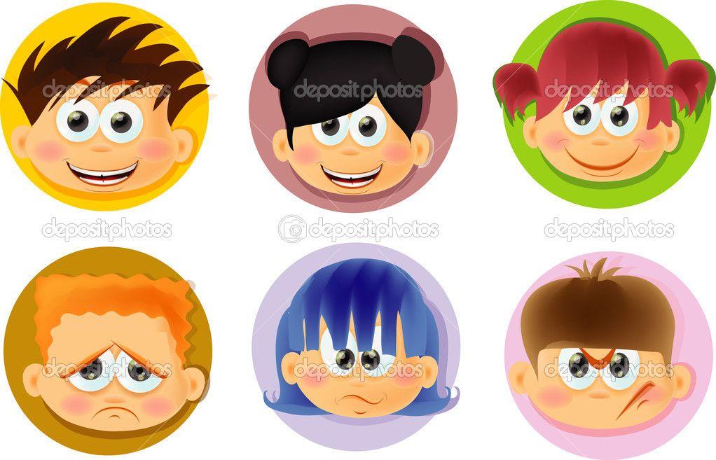 Para Niños De Dibujos Animados Caras Diferentes: Dibujos De Cara Con Emociones