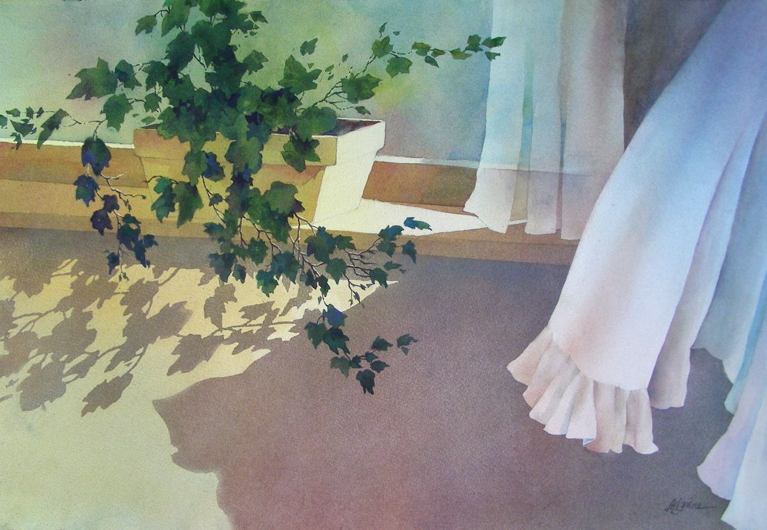 Alexis Lavine ~ Morning in Cambridge • watercolor on cold pressed paper • 15x22. http://www.alexislavineartist.com/