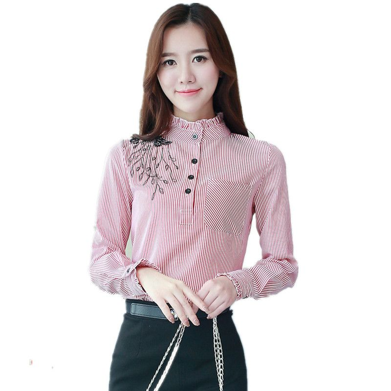Velvet Thick Long Sleeve Shirt Office Lady Winter Tops Embroidery Stripe Blouses Women Elegant Stand Womens Striped Blouse Blouses For Women Clothes For Women