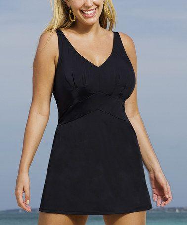 Look what I found on #zulily! Black Beach Belle V-Neck Swimdress - Women & Plus by Aquabelle #zulilyfinds