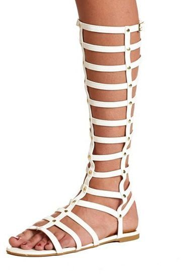 513f00b28e3 White Leather Knee High Gladiator Sandals by Charlotte Russe. Buy for  38  from Charlotte Russe