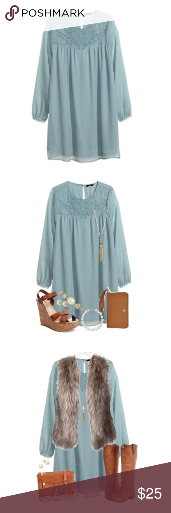 H&m lace dress white  HuM Boho Chiffon Lace Dress  My Posh Closet  Pinterest