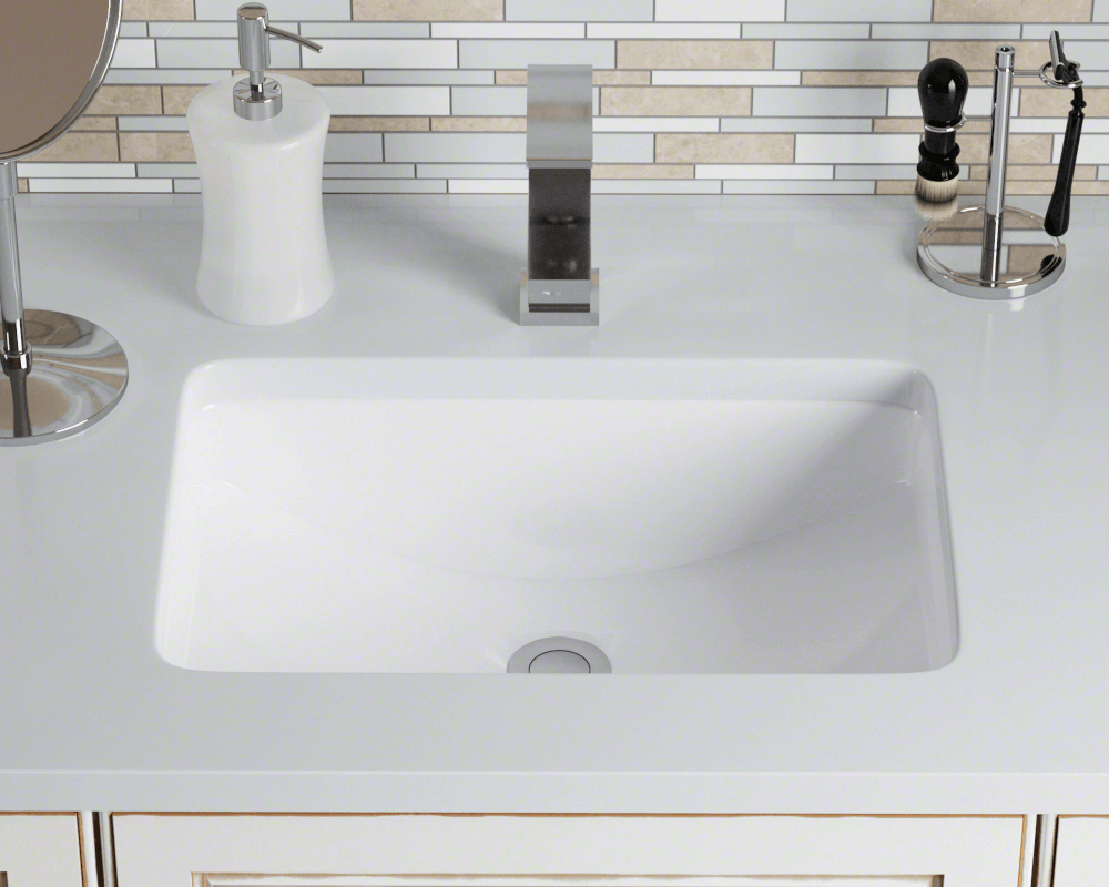 U1913 White Rectangular Porcelain Sink Undermount Bathroom Sink