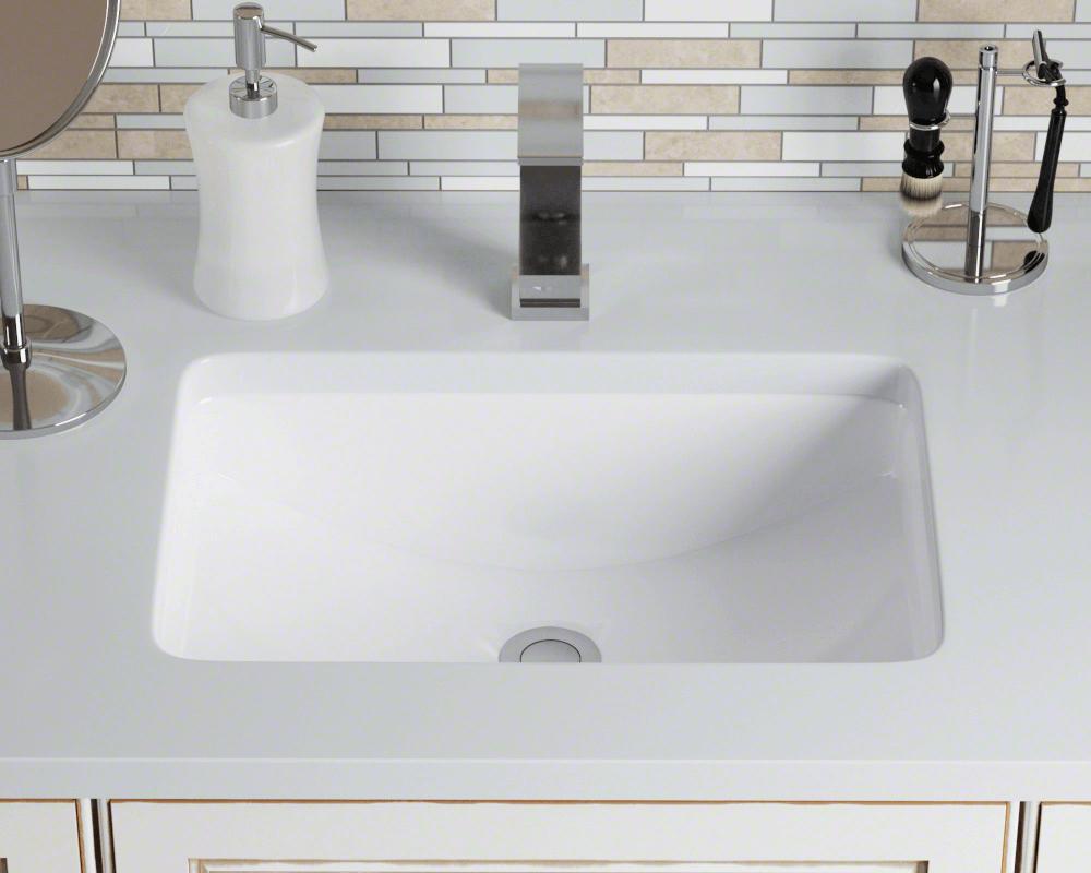 U1913 White Rectangular Porcelain Sink Undermount Bathroom Sink