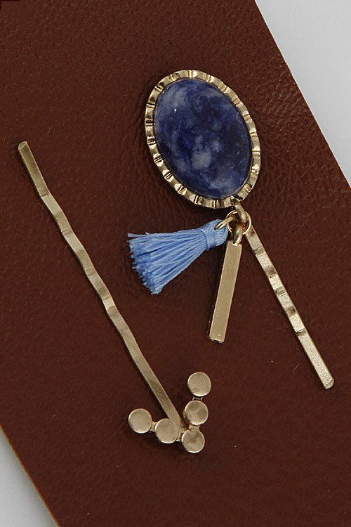 Oval Stone Hair Pin Set (  Colors)