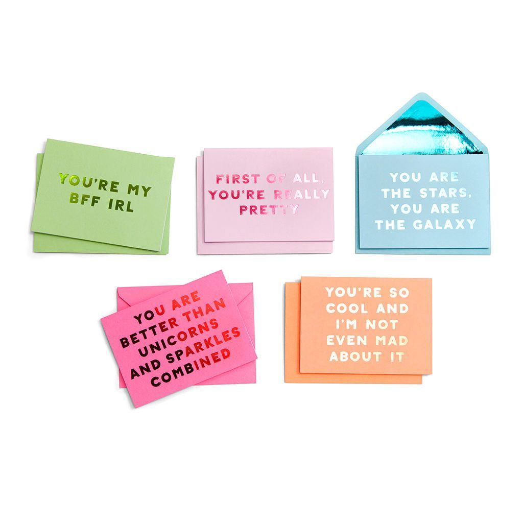 Card compliment greeting card set assorted wise words
