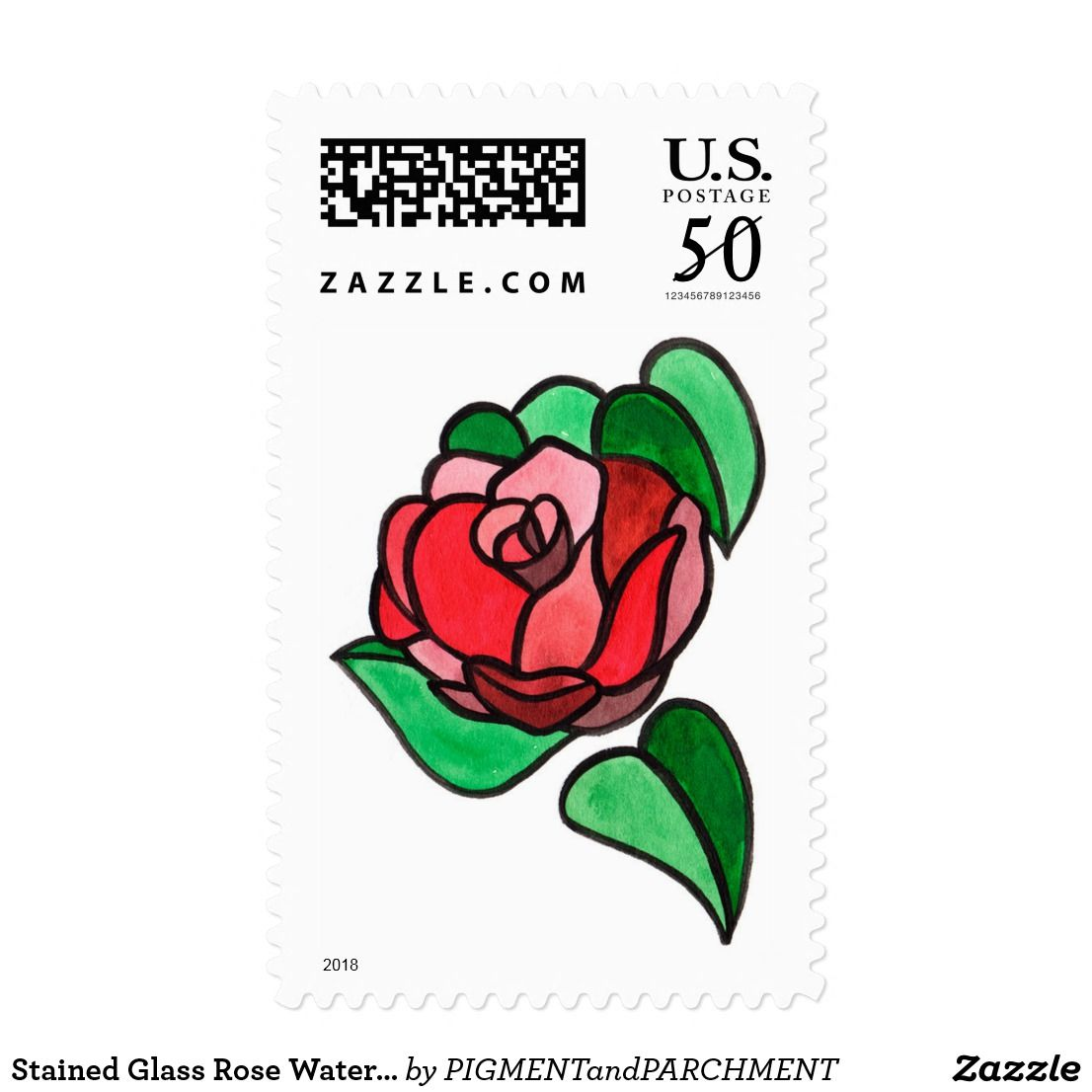 Stained Glass Rose Watercolor Stamps   Wedding postage stamps ...