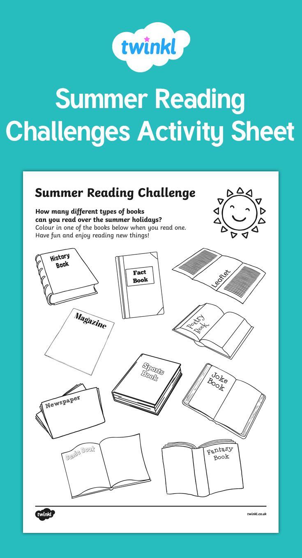 Summer Reading Challenges Activity Sheet | Summer | Pinterest ...
