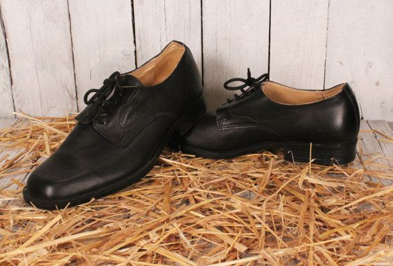 94a838009dc09 Vintage Genuine Leather Shoes, Black Leather Shoes, Dress Shoes for ...