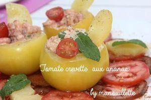tomate jaune aux crevettes et ananas