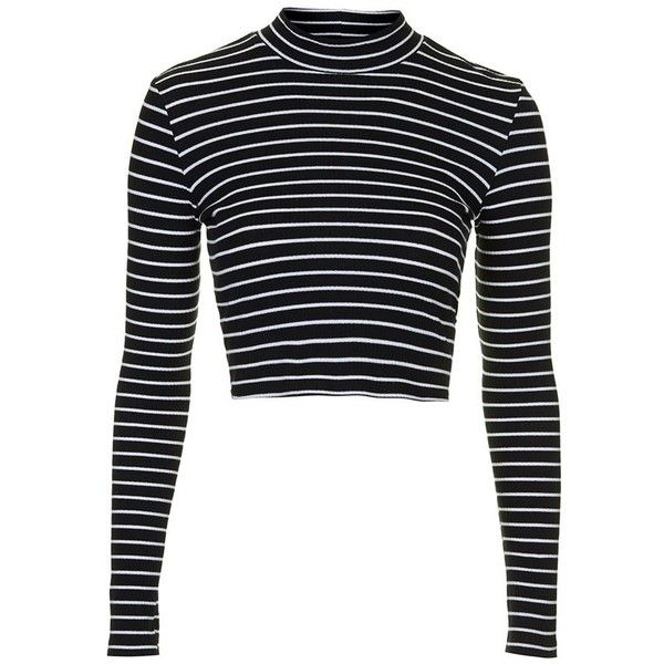 05e7a75ec3b Petite Women's Topshop Long Sleeve Rib Knit Top ($25) ❤ liked on Polyvore  featuring tops, crop tops, shirts, striped crop top, white stripes shirt,  ...
