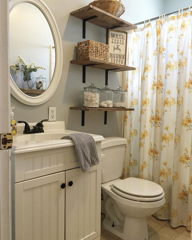This Little Bathroom Has Come A Long Way It S So Much More Functional For Us Since We Added These Shelves L Small Bathroom Decor Bathroom Decor Small Bathroom