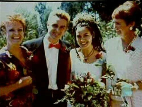 Billie and Adrienne Armstrong on their wedding day.