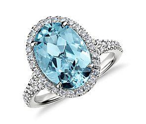 Aquamarine and Micropavé Diamond Halo Ring in 18k White Gold (3.90 ct) #bluenile