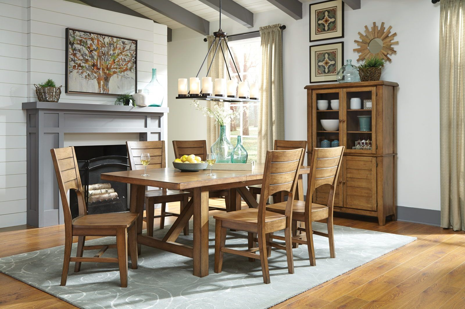 John Thomas Furniture Canyon 7 Piece Extension Dining Room Set In Pecan Side Chairs Dining Dining Room Furniture
