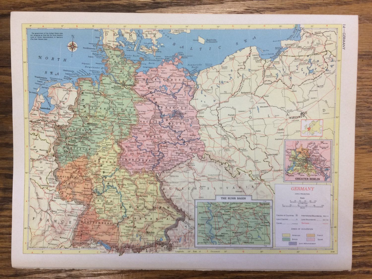 Germany or norway sweden finland denmark large map 1955 germany or norway sweden finland denmark large map 1955 hammonds new supreme world atlas vintage gumiabroncs Choice Image