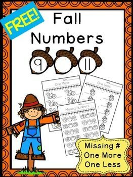 Fall Numbers 0 to 20 FREEBIE - Missing Numbers, One More ...