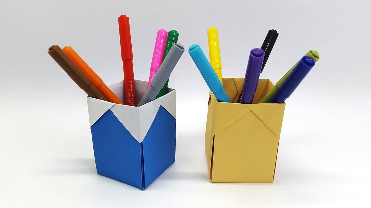 DIY- Paper Pen/Pencil holder | How to make Origami Pen Stand ... | 720x1280