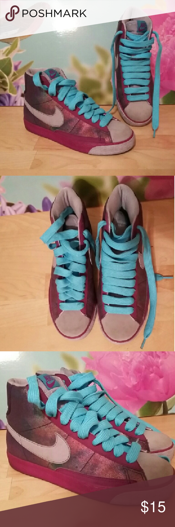 NIKE cute purple sneakers sz.7.5/38.5 NIKE cute purple sneakers sz.7.5/38.5...very good used condition...laces need to be matched up either way...show slight wear on front. Outer sole measure 10 1/4 inches in length Nike Shoes Sneakers