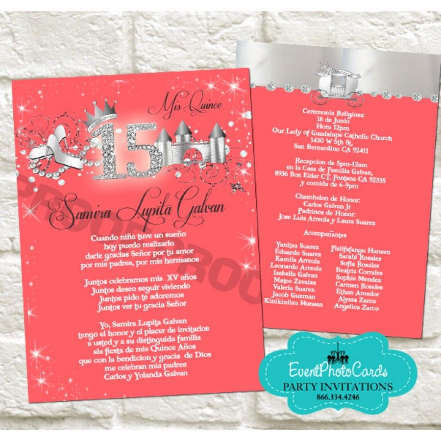 Coral and Silver Quinceanera Invitations 2 | coral mint green ...