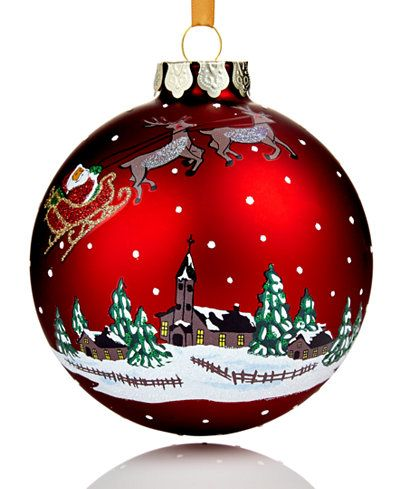 Holiday Lane 2017 Red Glass Winter Village Ball Ornament Created For Macy S Painted Christmas Ornaments Glass Christmas Ornaments Christmas Ornaments