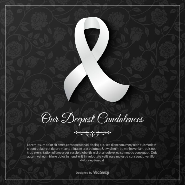 Our Deepest Condolences Vector Card Template Download Free Regarding Sorry For Your Loss Card Template Condolence Card Condolences Card Template
