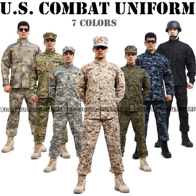 7 colors of us combat uniform usa military uniform