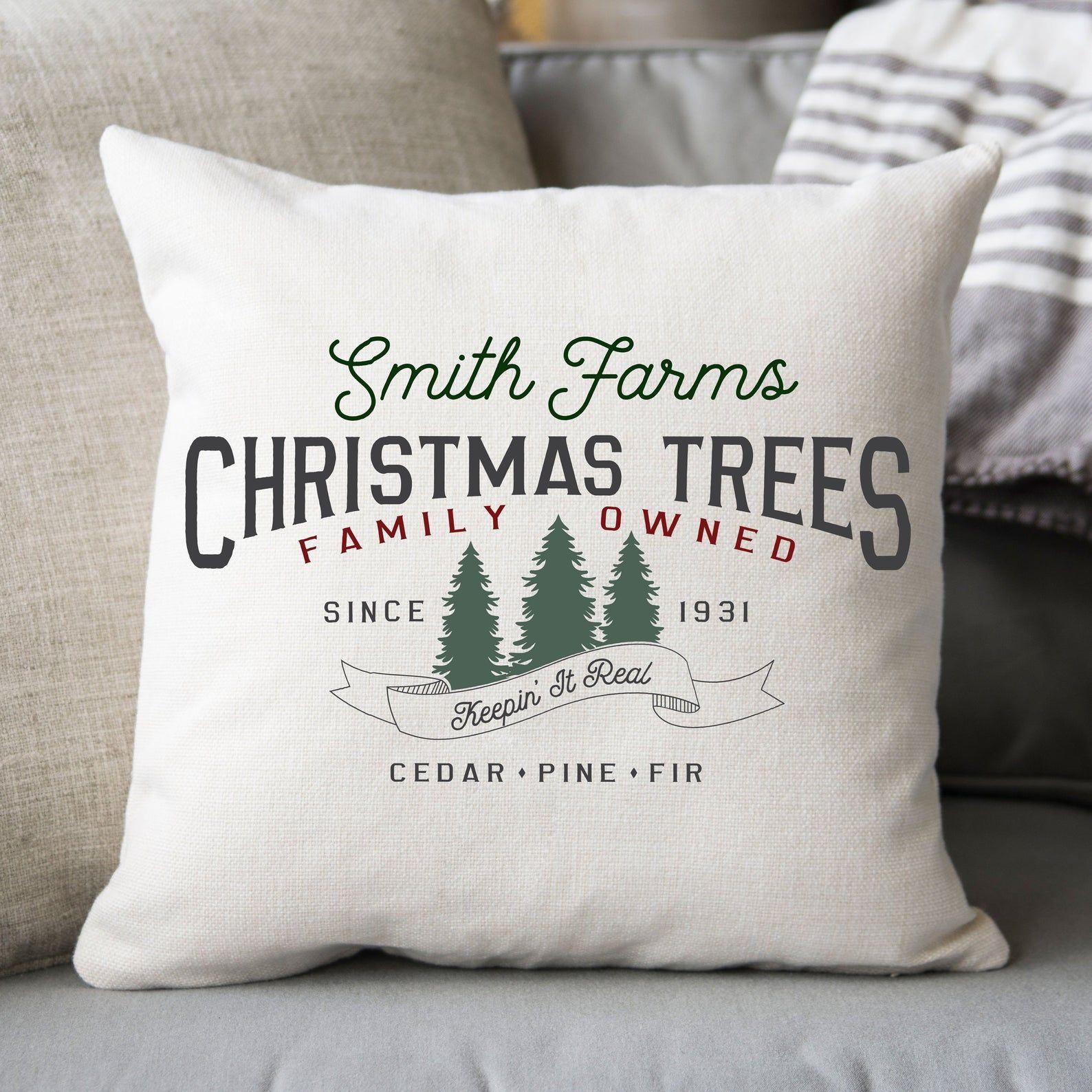 Family Tree Farm Throw Pillow Holiday
