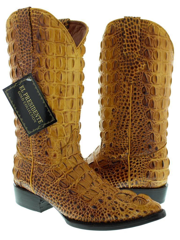 0fa857245e3 Men's rustic yellow leather full head cut crocodile alligator cowboy ...