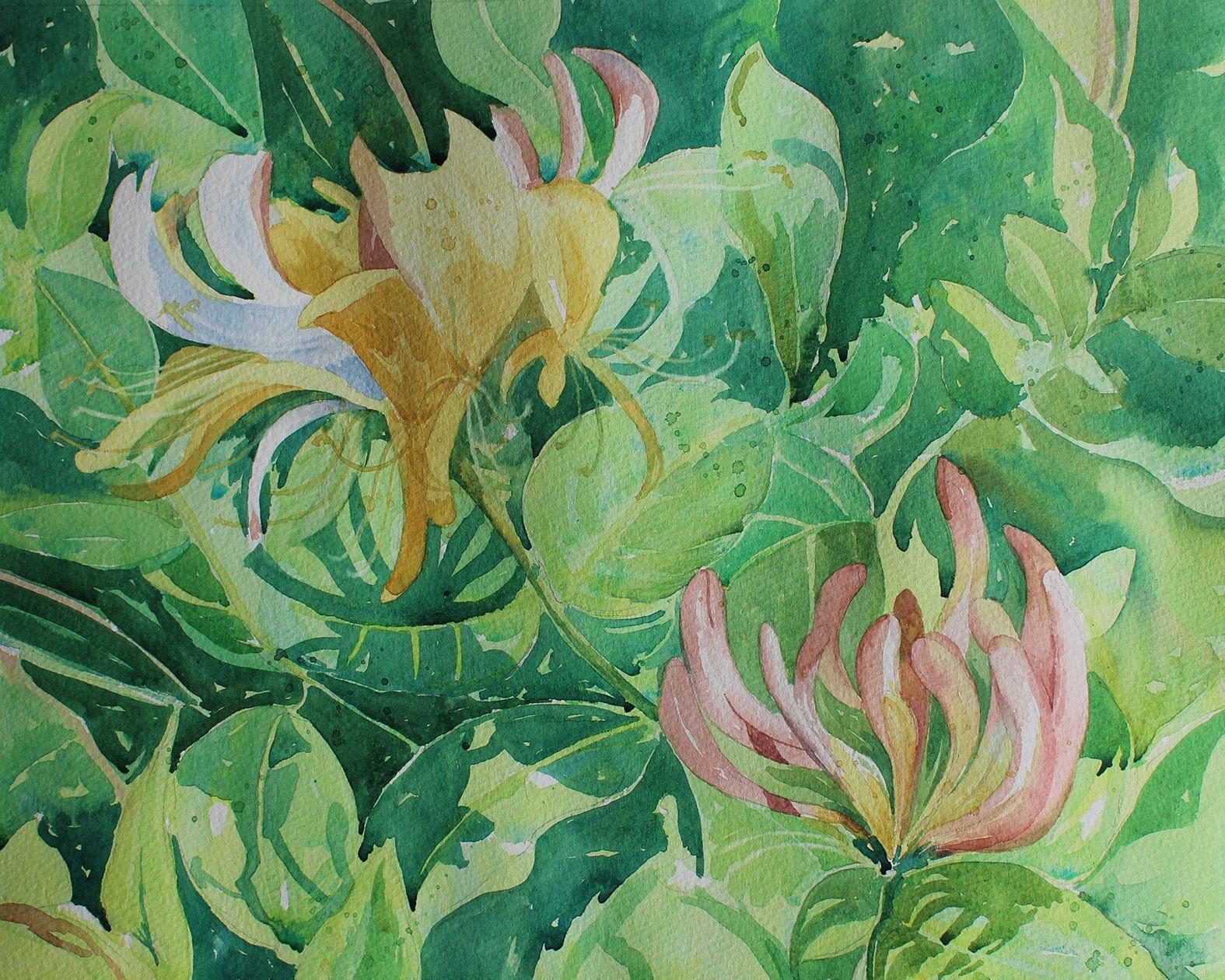 Original Watercolour Painting Of Honeysuckle, Wild Flower Art, Summer Flowers,