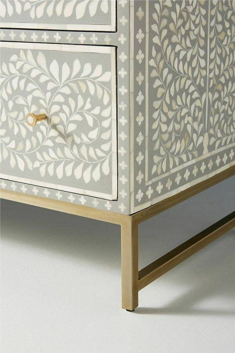 Bone Inlay Chest of 6 Drawers Floral Design in Grey Color