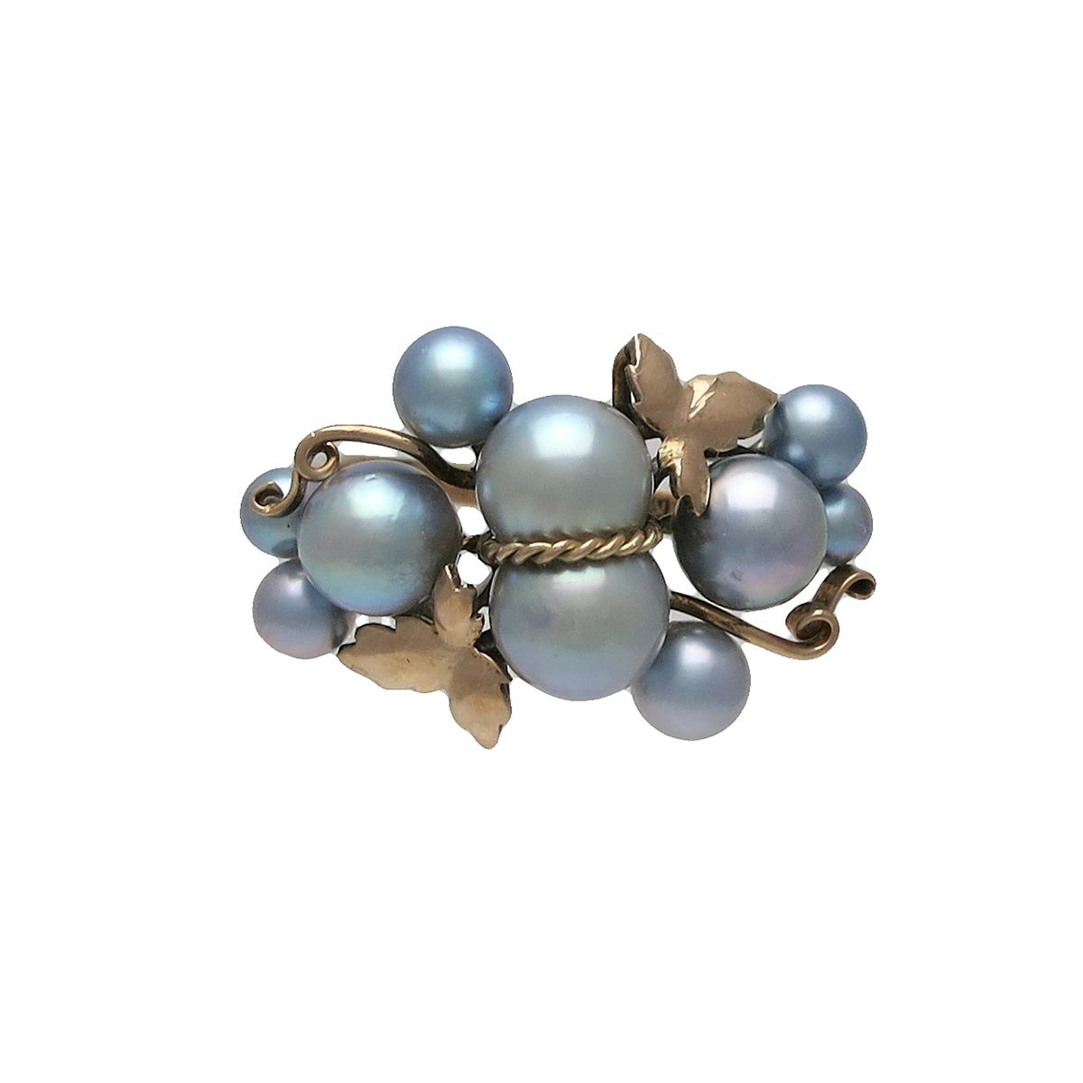 Vintage 10K Rose Gold and Blue Pearl Grape Ring, c. 1960s. $675