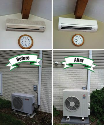 An Old Mini Split Indoor And Outdoor Unit Replaced With A New Mitsubishi Mr Slim High Efficienc Ductless Mini Split Hvac Services Heating And Air Conditioning