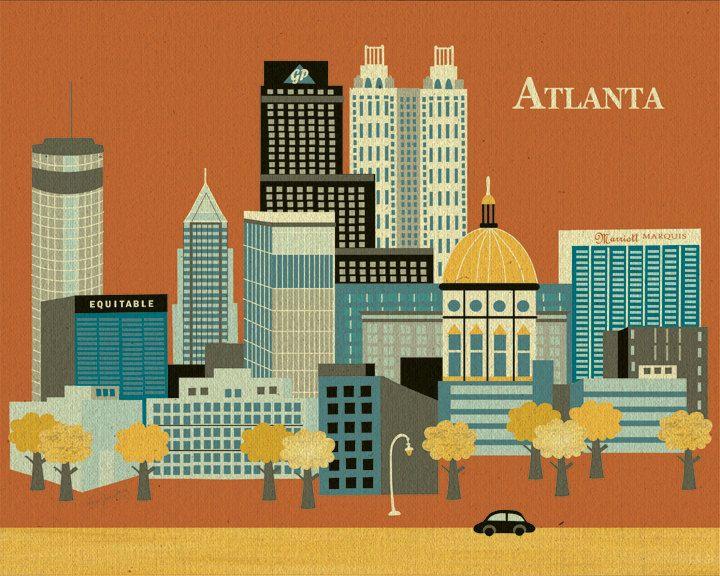 Atlanta skyline art print, Atlanta map, Atlanta Wall Art ...