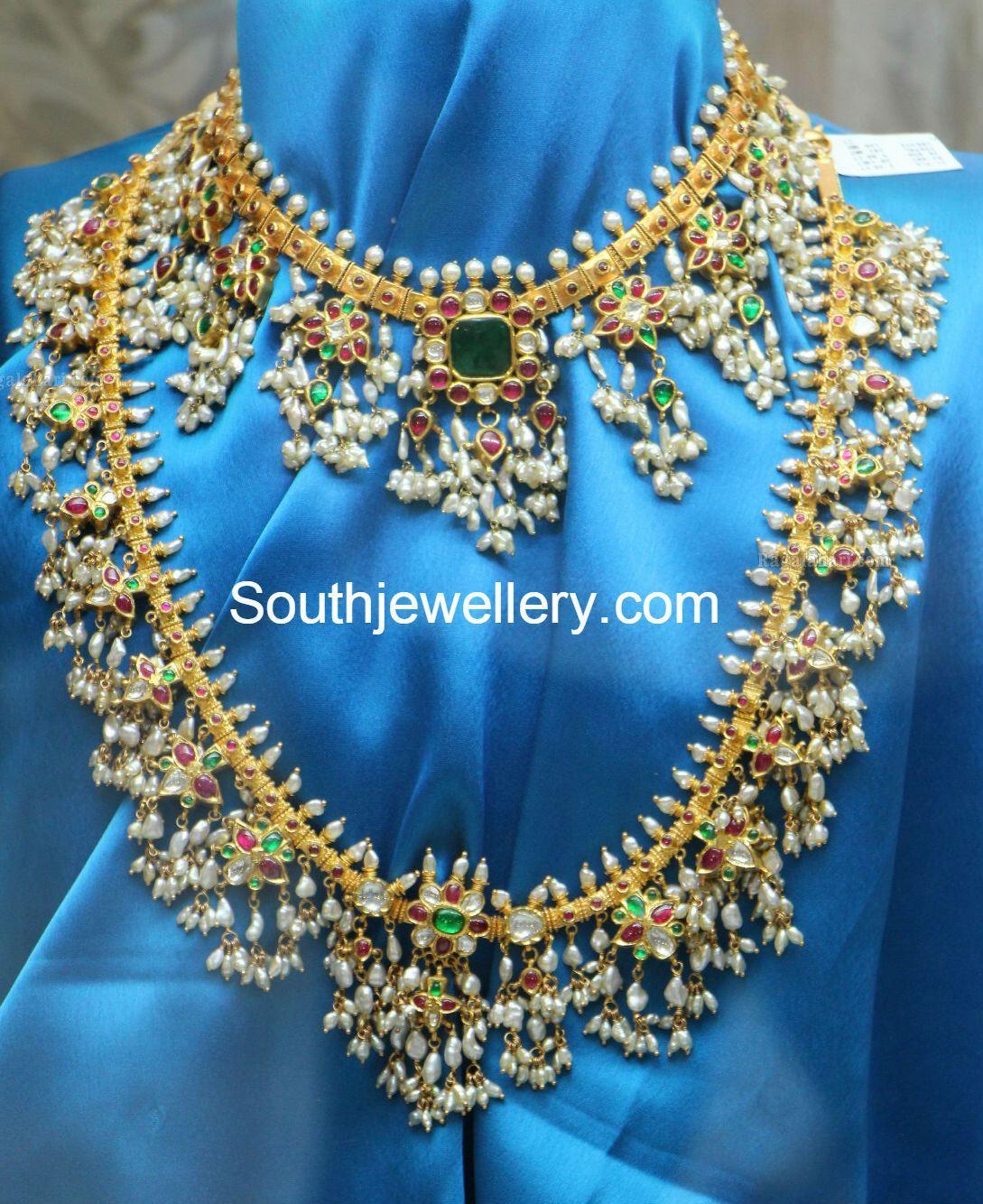 Bridal Diamond Necklace And Haram Set: Guttapusalu Necklace And Haram Set