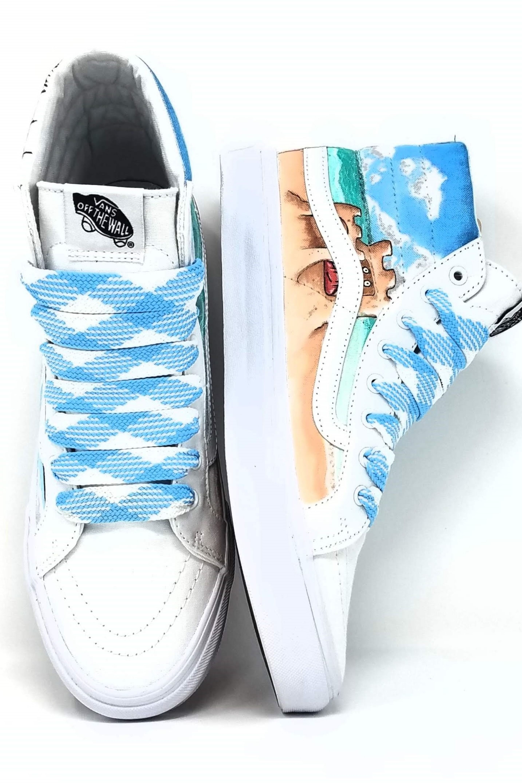 Custom Hand Drawn Beach Themed Shoes