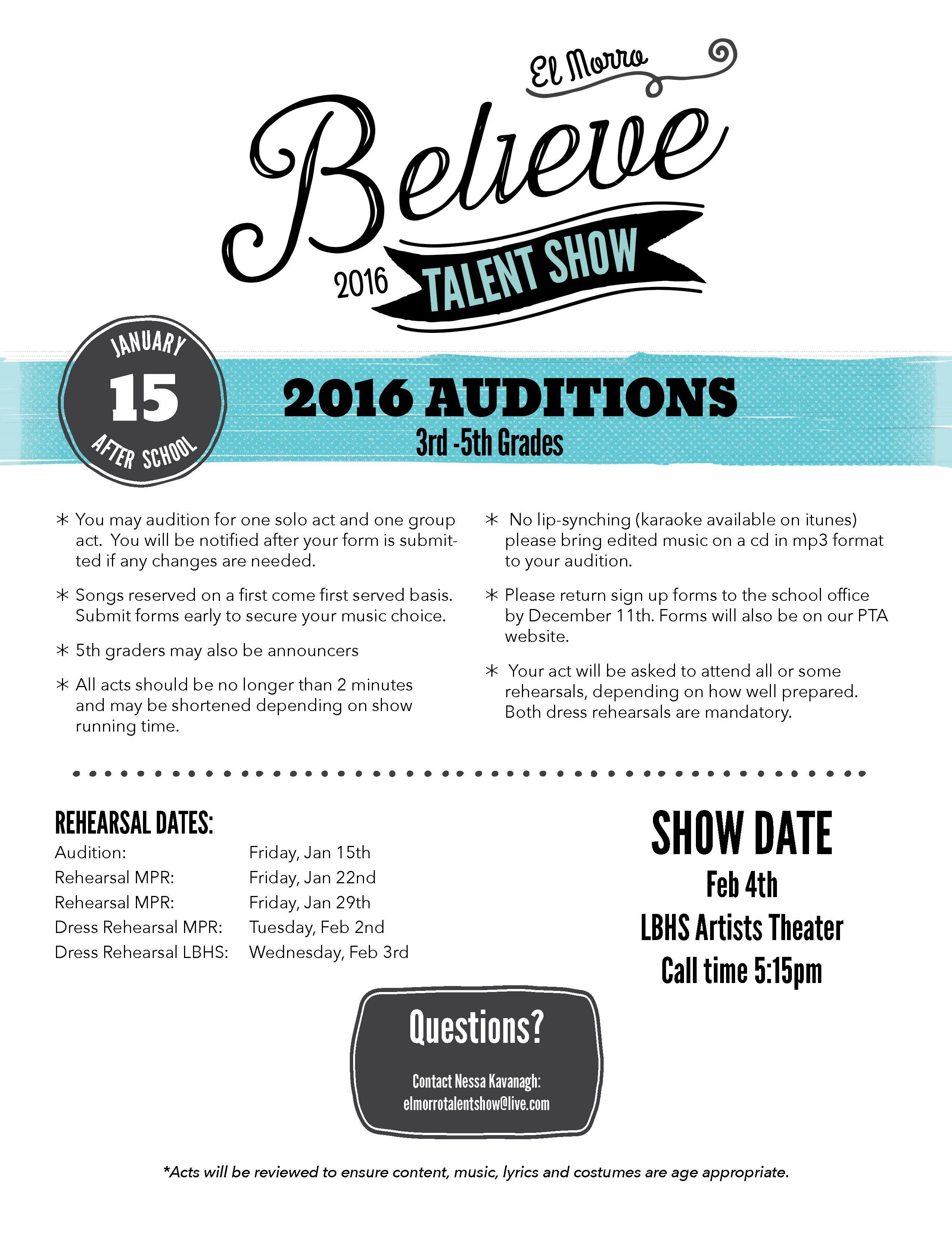 Elementary School Talent Show Rules