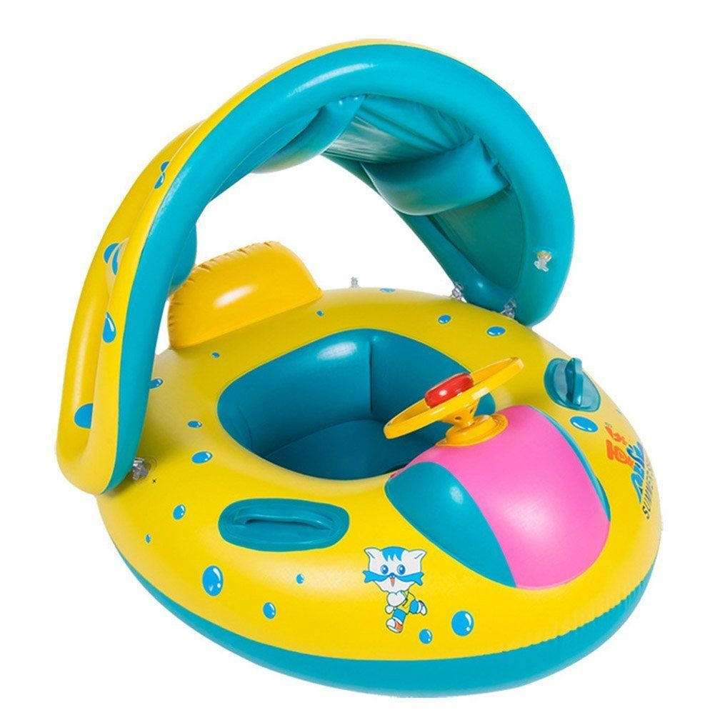 Kids Baby Toddler Swimming Pool Swim Seat Float Boat Ring With Sunshade Protect