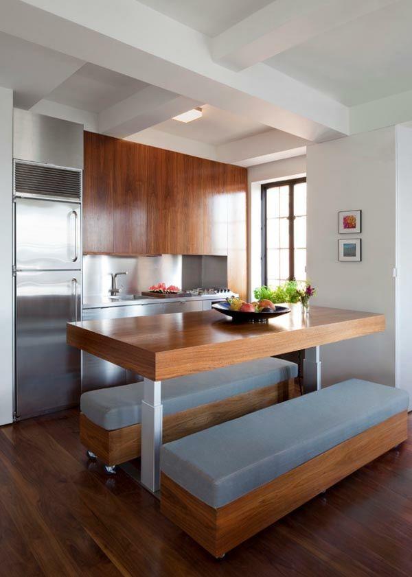 wohnideen küchenlösungen für kleine küchen holztisch sitzbank ...