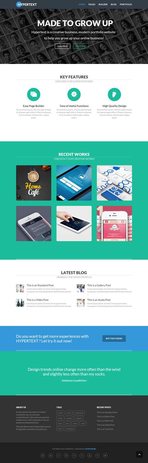 Hypertext - Flat Portfolio WordPress Theme | Wordpress | Pinterest