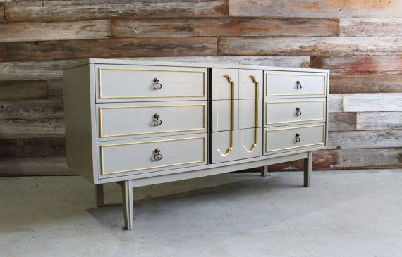 Lovely Vintage Painted Gray And Gold Dixie Brand Mid By UptownHeirloomCo, $1250.00