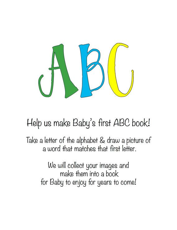 INSTANT DOWNLOAD Baby Shower Activity -- ABC book - baby shower invitation letter