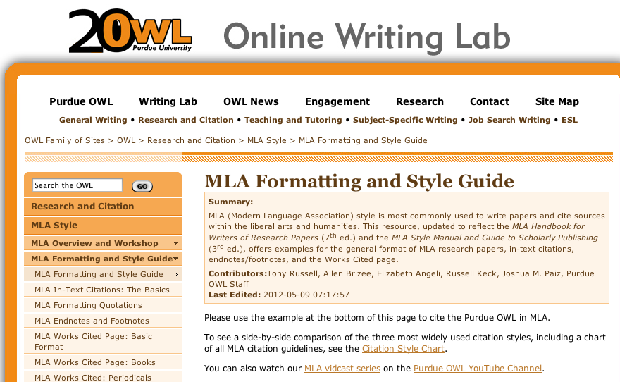 owl at purdue has a very thorough accurate mla and apa reference guide for students it provides sample papers also