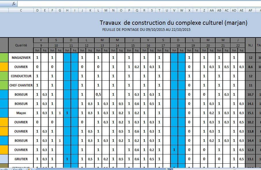 Modle De Feuille De Pointage Chantier Btp En Excel  Cours De Genie